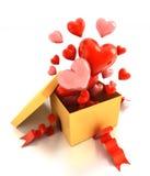 Open giftdoos met harten royalty-vrije illustratie