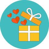 Open giftdoos met vliegende harten Vlak Ontwerp stock illustratie