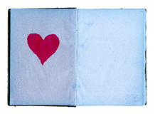 Open Girls Diary With Blue Pages And Big Red Heart stock image