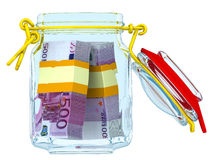 Open glass jar with bundles of euro Stock Photography