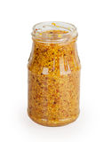 Open glass jar grainy mustard Stock Images
