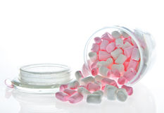 Open Glass jar of pink and white Marshmallow Royalty Free Stock Images