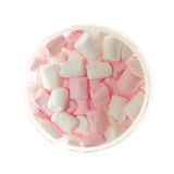 Open Glass jar of pink and white Marshmallow Stock Photography