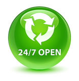 24/7 open glassy green round button Royalty Free Stock Image