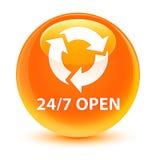 24/7 open glassy orange round button. 24/7 open isolated on glassy orange round button abstract illustration Stock Photo