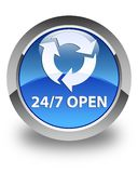 24/7 open glossy blue round button Royalty Free Stock Photography