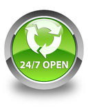 24/7 open glossy green round button. 24/7 open isolated on glossy green round button abstract illustration Stock Photos