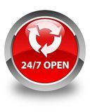 24/7 open glossy red round button. 24/7 open isolated on glossy red round button abstract illustration Stock Photography