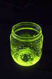 Open glowing jar in the darkness Royalty Free Stock Images