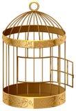 Open gold birdcage. An empty birdcage Royalty Free Stock Photos