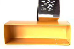 Open gold cardboard box Royalty Free Stock Image