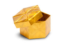 Open gold gift box Royalty Free Stock Photography