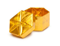 Open gold gift box Royalty Free Stock Images