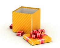 Open gold gift box Royalty Free Stock Photos
