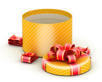 Open gold gift box Stock Images