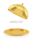 Open gold tray on a white background Royalty Free Stock Image