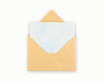 Open golden envelope with pape, clipping path. Royalty Free Stock Photography