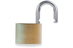 Open golden padlock Stock Image