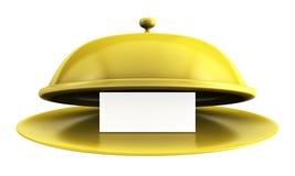 Open golden tray with blank card Stock Photos