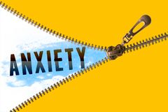 Anxiety word under zipper. Open golden zipper and showing paint blue with anxiety word royalty free illustration
