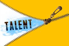 Talent word under zipper. Open golden zipper and showing paint blue with talent word royalty free stock images