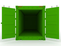 Open green cargo container stock photo