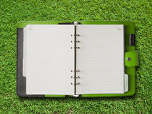 Open Green Cover Binder Stock Photo