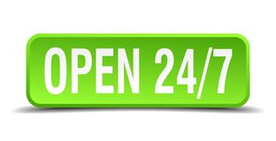 Open 24 7 green  realistic square isolated button. Open 24 7 green 3d realistic square isolated button Royalty Free Stock Photography