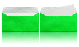 Open green envelope with blank letter Stock Images