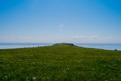 Open green expanse to the sea. Barry Island Wales so beautiful royalty free stock photo