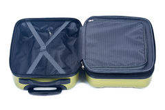 Open green hardshell luggage Stock Images
