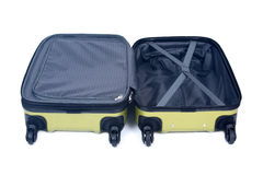 Open green hardshell luggage Royalty Free Stock Images