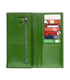 Open green leather wallet Royalty Free Stock Photos
