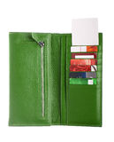 Open green leather wallet Royalty Free Stock Photo