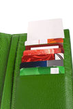 Open green leather wallet Royalty Free Stock Images