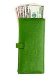 Open green leather wallet Stock Photos