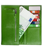 Open green leather wallet Stock Photography