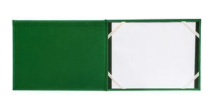 Open green notebook isolated Royalty Free Stock Photo