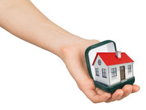 Open green ring box with house in humans hand. Empty ring box house in humans hand on isolated white background Stock Photos