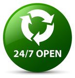 24/7 open green round button. 24/7 open isolated on green round button abstract illustration Royalty Free Stock Image