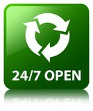 24/7 open green square button. 24/7 open isolated on green square button reflected abstract illustration Stock Images
