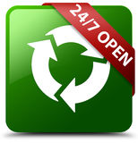 24/7 open green square button Stock Photos