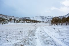 A Track To The Winter Mountains royalty free stock photo