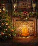 Open haard 1 van Kerstmis Stock Afbeeldingen