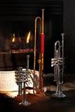 Open haard, trompet, muziek royalty-vrije stock foto