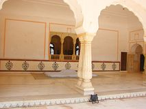 An Open Hall with Arches & Pillars at Amer Palace, Jaipur, Rajasthan, India Stock Photos