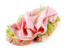 Open ham sandwich on rye bread Stock Images