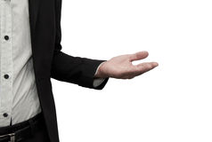 Open hand. Open hand of a business man royalty free stock photos