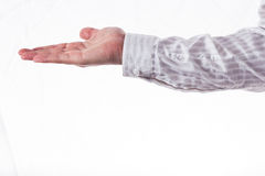 Open hand. Male hand  on a white background Royalty Free Stock Photos