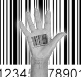 Open hand with barcode Stock Photo
